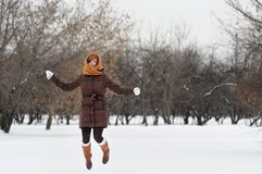 Woman having fun in winter Royalty Free Stock Images