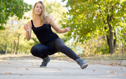 Woman having fun working out Stock Photos