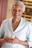 Woman Having A Glass Of Wine At A Bar Stock Images