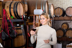 Woman having glass of wine in wine house Stock Image