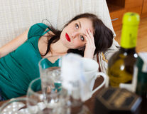 Woman having hangover Stock Image