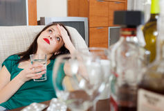 Woman having hangover Stock Photos