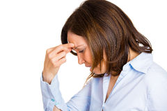 Woman having head ache Stock Images