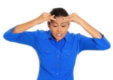 Woman having headache Stock Image