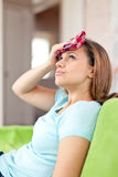 Woman having  headache Stock Image