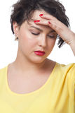 Woman having headache. On isolated white Royalty Free Stock Image