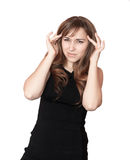 Woman having a headache. Royalty Free Stock Photos