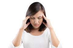 Woman having a headache. On white background Royalty Free Stock Image