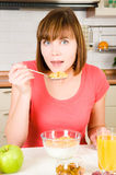 Woman having a healthy breakfast Stock Image