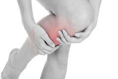 Woman having leg injury stock images