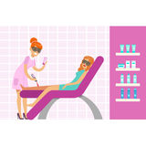 Woman having legs epilation with laser hair removal equipment. Colorful cartoon character vector Illustration Royalty Free Stock Images