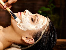 Woman having mask at ayurveda spa. Royalty Free Stock Image