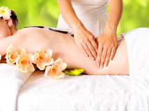 Woman having massage of body in nature spa Royalty Free Stock Image