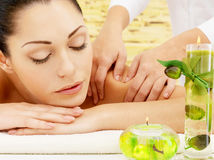Woman having massage of body in spa salon Stock Photography