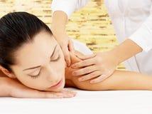 Woman having massage of body in spa salon Royalty Free Stock Photo