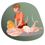 Woman having a massage in a spa. Vector illustration Royalty Free Stock Photography