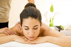 Woman having a massage royalty free stock photos
