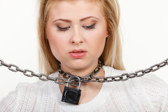Woman having metal chain around neck Royalty Free Stock Photos
