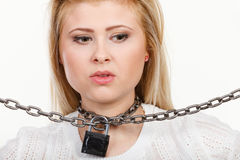 Woman having metal chain around neck Stock Image