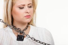 Woman having metal chain around neck Stock Photography