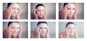 Woman having a migraine Stock Photos
