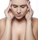 Woman having a migraine Royalty Free Stock Image
