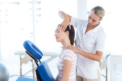 Woman having neck massage. In medical office royalty free stock photos