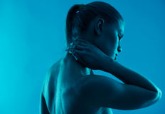 Woman having neck pain royalty free stock images