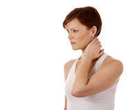 Woman having a neck pain Royalty Free Stock Photography