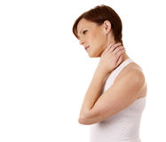 Woman having a neck pain Royalty Free Stock Photos