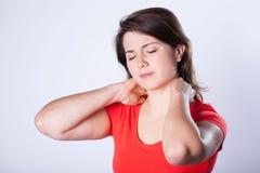 Woman having neck pain Royalty Free Stock Photo