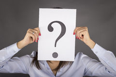 Woman having no answers to a question Stock Photography