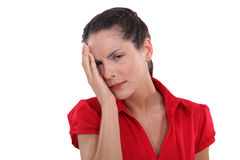 Woman having ocular pain Stock Photography