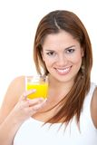 Woman having orange juice Royalty Free Stock Photos