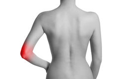 Woman having pain in her elbow. Elbow is highlighted by red colour Stock Photo