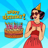 Woman Having a Party in Celebration Hat. Pop Art Royalty Free Stock Photos