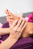 Woman having a pedicure treatment at a spa royalty free stock photography