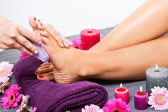 Woman having a pedicure treatment at a spa Stock Photography