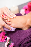 Woman having a pedicure treatment at a spa Stock Photo
