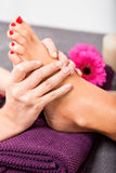 Woman having a pedicure treatment at a spa Royalty Free Stock Images