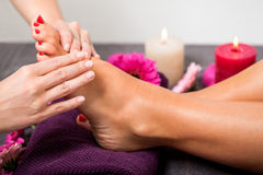 Woman having a pedicure treatment at a spa royalty free stock image