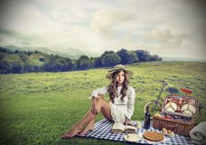 Woman having a pic nic Stock Photography