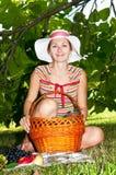 Woman having picnic Royalty Free Stock Image
