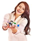 Woman having pills and tablets. Royalty Free Stock Image