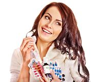 Woman having pills and tablets. Royalty Free Stock Photo