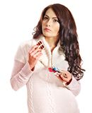Woman having pills and tablets. Royalty Free Stock Photos