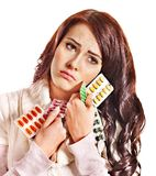 Woman having pills and tablets. Royalty Free Stock Photography