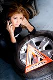 Woman having problems with the car Royalty Free Stock Images