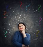 Woman having questions royalty free stock images