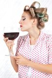 Woman Having Red Wine Stock Photos